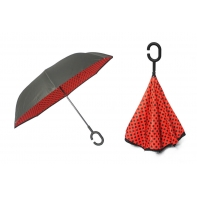 """Parasol odwrócony """"Revers"""" - czerwony w groszki"""