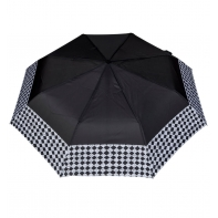Wytrzymała automatyczna parasolka damska PARASOL, lamówka w szachownice