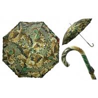Długa automatyczna parasolka damska z falbanką, liście dębu