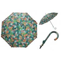 Długa automatyczna parasolka damska z falbanką, leśne kwiaty