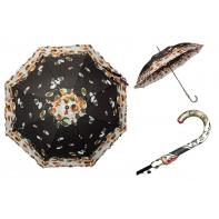 Długa automatyczna parasolka damska z falbanką, brązowa w kwiatki