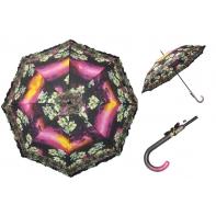 Długa automatyczna parasolka damska z falbanką, lilie o zachodzie słońca