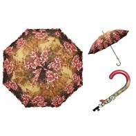 Długa automatyczna parasolka damska z falbanką, biało-czerwone róże