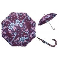 Długa automatyczna parasolka damska z falbanką, fioletowa w kwiatuszki