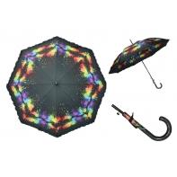 Długa automatyczna parasolka damska z falbanką, kolorowe plamy
