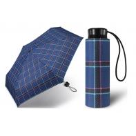Kieszonkowa, ultra mini parasolka Happy Rain 16 cm, niebieska w kratę
