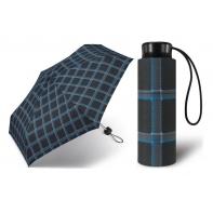 Kieszonkowa, ultra mini parasolka Happy Rain 16 cm, czarna w kratę