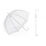Głęboka parasolka Happy Rain, przezroczysta z białą lamówką