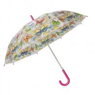 Automatyczna parasolka damska przezroczysta MOTYLE, różowa