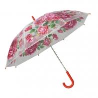 Automatyczna parasolka damska przezroczysta w różowe kwiaty, czerwona