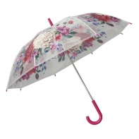 Automatyczna parasolka damska przezroczysta w kolorowe kwiaty, ciemno różowa