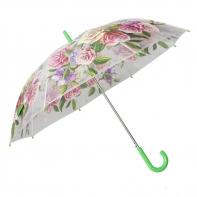 Automatyczna parasolka damska przezroczysta w kolorowe kwiaty, zielona