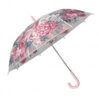 Automatyczna parasolka damska przezroczysta w kolorowe kwiaty, jasno różowa