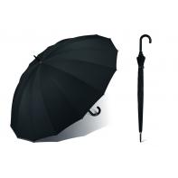 Bardzo duży PARASOL Happy Rain - 130 cm, 16 brytów, czarny