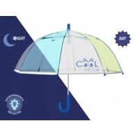 Dziecięca głęboka parasolka z odblaskową lamówką, żółto-niebieska