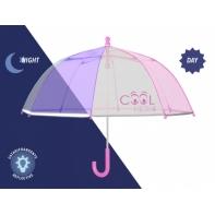 Dziecięca głęboka parasolka z odblaskową lamówką, różowo-biała