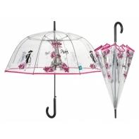 Przezroczysta GŁĘBOKA parasolka automatyczna Perletti, PARYSKI WZÓR