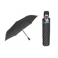 Automatyczna parasolka damska Perletti, czarna w GROSZKI