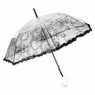 Głęboka przezroczysta parasolka damska z falbanką, koronka CZARNA