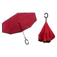 """Parasol odwrócony """"Revers"""" z podwójnym materiałem BORDOWY"""