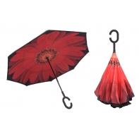 """Parasol odwrócony """"Revers"""" z podwójnym materiałem CZERWONY KWIAT"""