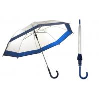 Parasolka PRZEZROCZYSTA automatyczna z GRANATOWĄ lamówką