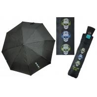 Automatyczna parasolka damska Perletti, CZARNA w CZASZKI