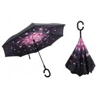 """Parasol odwrócony """"Revers"""" z podwójnym materiałem FIOLETOWO-RÓŻOWE KWIATY"""
