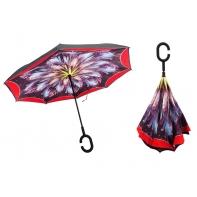 """Parasol odwrócony """"Revers"""" z podwójnym materiałem CZERWONO-FIOLETOWY KWIAT"""