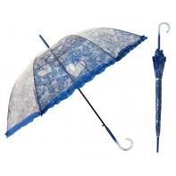 Głęboka przezroczysta parasolka damska z falbanką, koronka Granatowa
