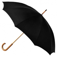 Klasyczny parasol męski z drewnianą rączką i pokrowcem, czarny